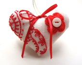 Sweet Linen Valentine Heart with Red Embroidery