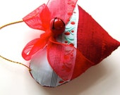 Little Red Silk Heart Ornament, Bell, Bow and Ribbon