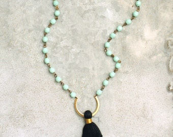 Black Tassel Necklace, Aqua Beads, Long Necklace, Beaded Bohemian Tassel Necklace