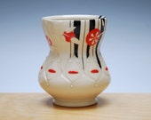 Ivory yunomi w. Black pinstripes & Red polka dots, Handmade porcelain cup