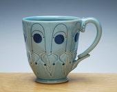 Aqua gloss mug w. Navy Polka dots & detail, Victorian mod handmade cup