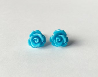 Kawaii Post Earrings Light Blue Roses Stud Earrings Opaque Flowers No Metal Acrylic Posts Hypoallergenic Sensitive Ears Waterproof Jewelry