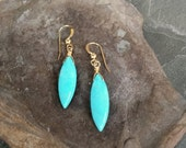 30% OFF Turquoise Earrings, Long Turquoise and Gold Point Drop Earrings, December Birthstone Turquoise, TURQUOISE JEWELRY, Marquis Turquoise