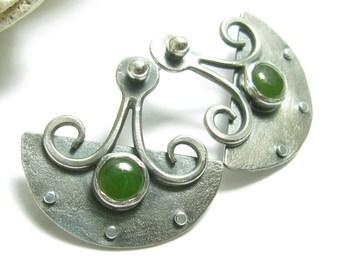 Jade Earrings, Sterling Silver Earrings, Artisan Earrings, Exotic Shield Earrings, Post Earrings, Jade Jewelry, Gemstone Metalsmith Earrings
