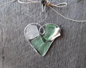 Lovely Little Heart Shaped Suncatcher Ornament with Sea Green Seaglass and a Shell
