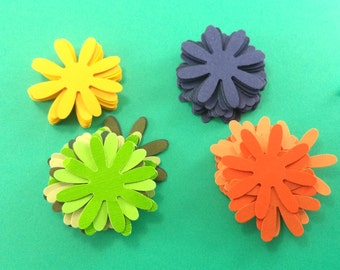 Paper Flowers, Scrapbook Embellishments, Card Making Supplies, Hand Punched Flowers, Yellow, Orange, Green, Blue, Scrapbook Supplies