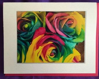 Rainbow Roses Photo Blank Note Card