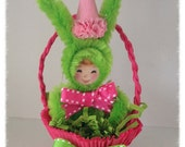 Easter Decoration Bunny Girl in a Nut Cup Easter Ornament