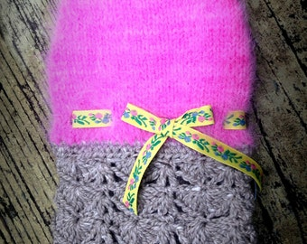 """NEST """"Hibiscus"""" Angora Dog Sweater Dress -- Hand Knit -- OOAK with Trims from Paris!"""