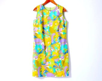 60s 70s Psychedelic Day Dress Sleeveless Mini Dress small //107