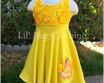Princess Belle Yellow Rose Dress, Princess Belle Costume Dress, Princess Belle Birthday Party Girl Dress, Princess Belle Girl Outfit