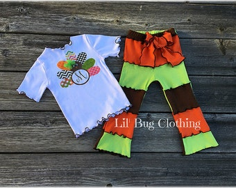 Thanksgiving Girl Turkey Pant Outfit, Thanksgiving Girl Turkey Tee & Leggings, Holiday Girl Turkey Outfit, Personalized Turkey Girl Outfit