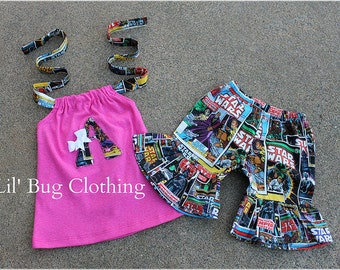 Custom Boutique Clothing Star Wars Short And Halter Personalized Outfit