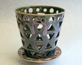Black and Pink Pottery Orchid Flower Pot with Triangular Air Vents and a Drip Saucer  - Make Your Orchid Happy!