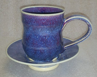 Purple and Blue Wheel Thrown Cup or Mug with Saucer