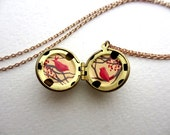 Love Birds Locket, Hand-painted in Oil, Necklace for Valentine's Day