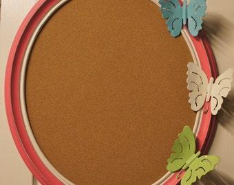Large Cork Board Bulletin Board Frame-  Oval Frame w/ Vintage Butterflies