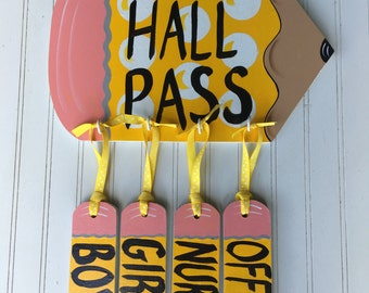 school hall pass, classroom hall pass, hall pass, school door hanger