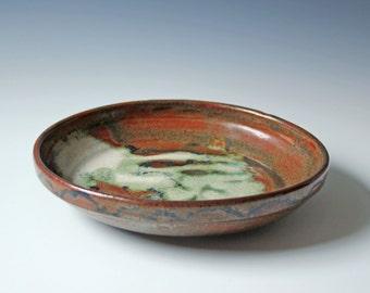 Vintage studio pottery bowl brown glazed earthy tones - coral shaped drip glaze pattern - fruit bowl - home decor / wall decor