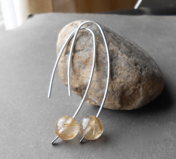 Rutilated Quartz Earrings, Minimal Silver Earrings, Wire Earrings, Modern Gemstone Hoop