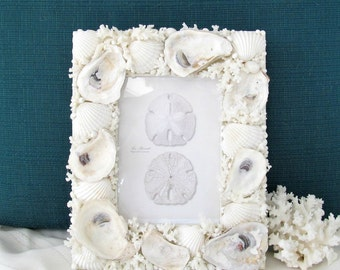 Shell Frame for 5 X 7 Photo, Oyster Seashell Frame, Frame with Shells, Coastal Beach Frame, Rustic Shell Frame, OOAK Seashell Frame