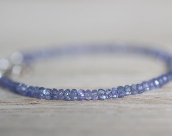 Tanzanite and Sterling Silver Bracelet. Protection and Balance Stone. Lilac Tanzanite Simple Stacking Bracelet