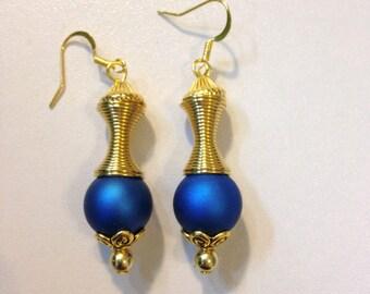 Blue Earrings & Gold Spiral Coil
