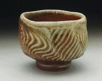 WoodFired Faceted Stoneware Sake Cup/Guinomi with Shino Glaze