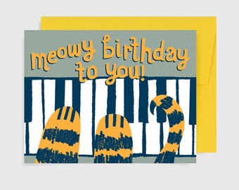Cat Birthday Card - Meowy Birthday