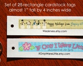 Set of 25 Rectangle Personalized Cardstock Tags designed to match your ETSY SHOP BANNER, Gift Tags, Hang Tags, Favor Tags