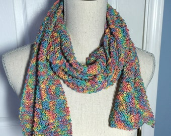 Long Cotton Scarf in Rainbow Colors