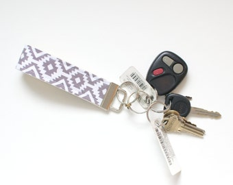 Fabric Key Chain Fob Edurado Coin in Grey