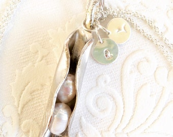 Pea Pod Pearl Spoon Pendant with Custom Initial Charms