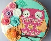 Embroidered Owl Hoop Art