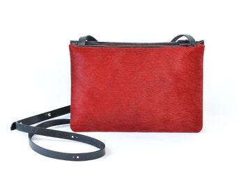 Coralie - Handmade Red Hair On Hide & Black Leather Shoulder Bag Purse SS17