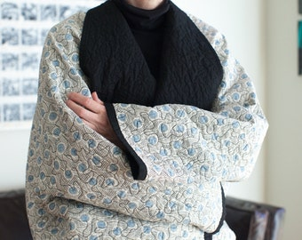 Kimono Quilt Meditation Quilt Reading Blanket Modern Quilt Japanese Inspired Quilt Shoulder Wrap Quilted Kimono Wrap in Blue and White Quilt
