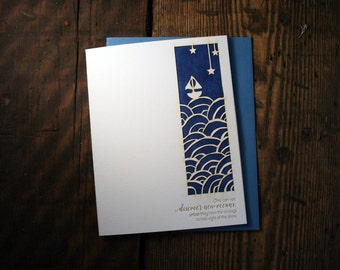 Letterpress Printed, Laser-Cut, New Oceans Card - single