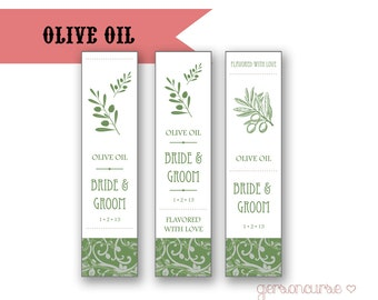 Personalized Olive Oil Favor Labels - Flavored With Love / DIGITAL FILE