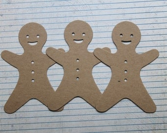 3 Bare Chipboard Smiling Gingerbread Man style no. 2 diecuts 3 3/8 inches w x 4 3/4 inches high