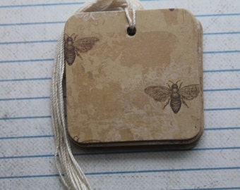 16 Gift tags Wasps / Bees on distressed brown paper covered chipboard...prestrung chipboard Tags