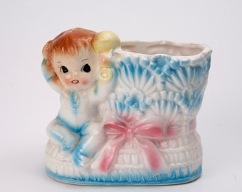 Adorable Baby Boy Figurine Planter