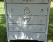 Shabby Chic High Dresser Tallboy Painted Cottage White
