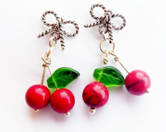 silver cherry earrings - bow earrings - cherry earrings - rockabilly earrings - sailor jerry earrings - fruit jewelry - summer earrings -