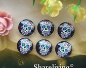 20% OFF SALE - 12mm Photo Cabochon, 8mm 10mm 14mm 16mm 20mm 25mm 30mm Round Black Skull glass Cabochon - BCH134C