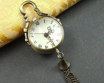 10% OFF SALE - 50 Percent OFF Sale - 1Pcs Antique Bronze Clear Glass Ball Design Necklace Watch Pendant Lk762
