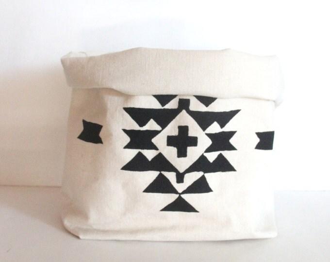 Aztec Tribal Design Canvas Storage Container / Fabric Storage Bin / Gilft Basket / Home Organization