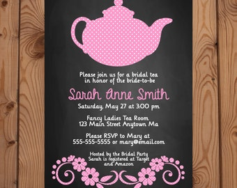 Bridal Shower Tea Party Invitation - Pink Tea Party Invitation - Bridal Shower Invitation - Digital Invitation - Printable Invitation