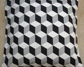 "26x26 Euro Sham Black White and Grey Pillow Cover 26"" Gray Decorative Pillow Cushion Slip Sham Case Pillowcase Geometric Retro Funky  Modern"