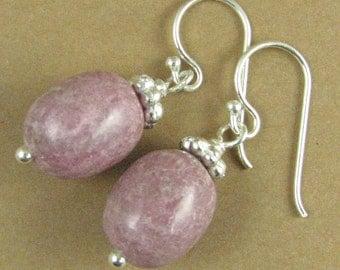 Rhodonite earrings. Dusty pink / mauve. Oval. Sterling silver 925.