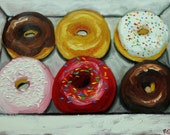 Donuts still life painting 36 18x24 inch original oil painting by Roz